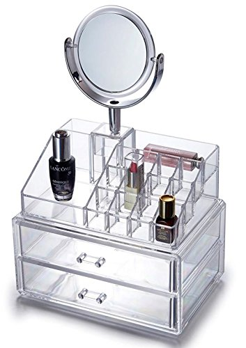 Organizer für Kosmetik Acryl - 37,5x24x17 cm - 16 Fächer + 2 Schubladen und Spiegel mit Vergrößerung