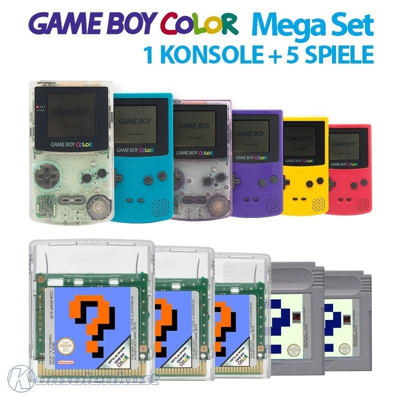 GameBoy Color MegaSet - 1 Konsole GB Color #Farbe nach Wahl inkl. 5 Spiele