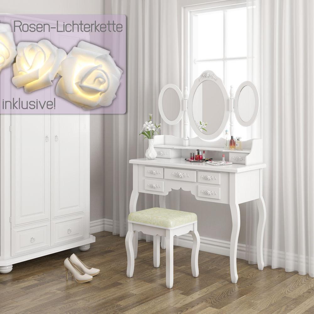 Schminktisch Hocker Kosmetiktisch Frisierkommode Frisiertisch Spiegel Queen Rose