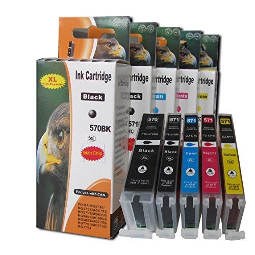 5 komp. XL Druckerpatronen für Canon Pixma MG 5700 5750 5751 5752 5753 6800 6850 6851 6852 6853 7700 7750 7751 7752 7753