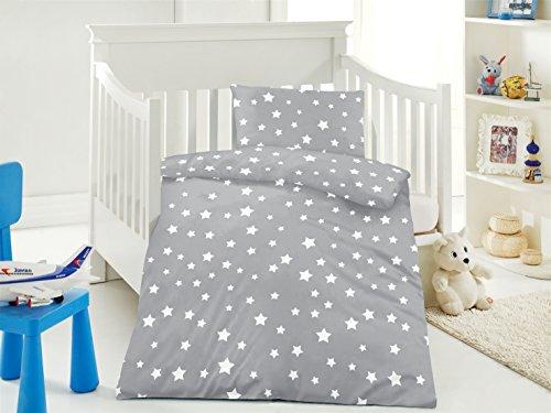 Aminata Kids Süße Kinderbettwäsche Bettwäsche Sterne Grau