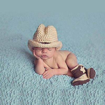 Baby 3-6 Monate Cool Cowboy Hut Sets Jungen Kostüm Gestrickt Mütze Fotoshooting