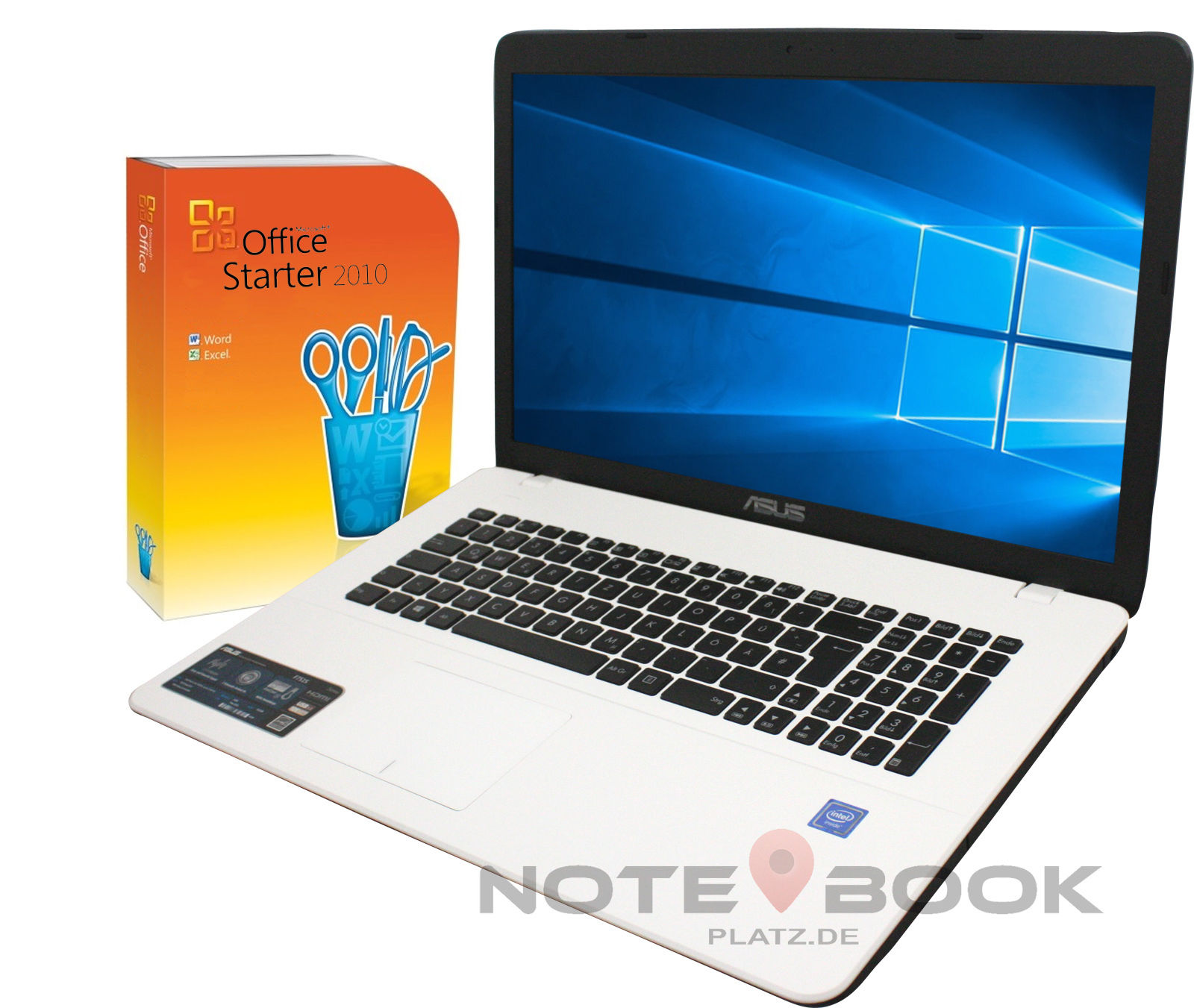 ASUS Notebook 17 Zoll - Weiß - 2 x 2,46 GHz - 1T HDD -USB 3.0- Win10 Pro- Office