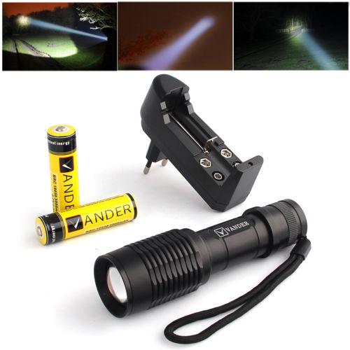 6000Lumen 5Modes XM-L T6 LED Taschenlampe +2x 18650 6000Mah Akkus + Ladegerät