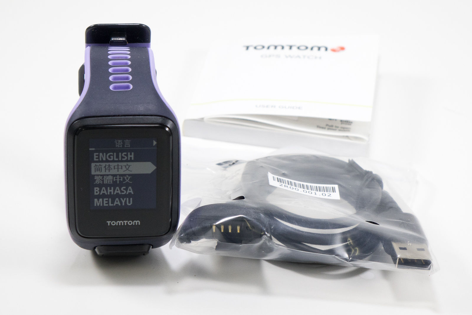 TomTom RUNNER 2 CARDIO mit Herzfrequenzmessung am Handgelenk, blau/lila, Größe S