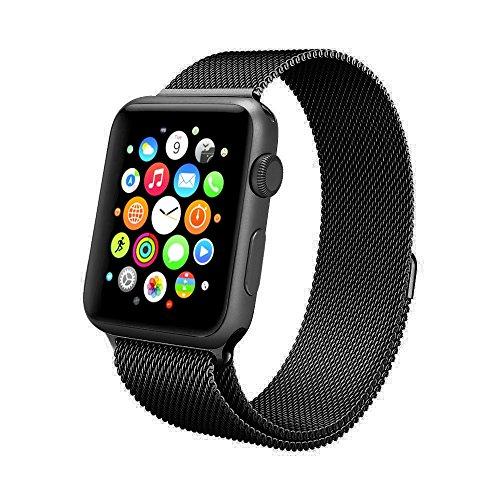 Apple Watch Armband 42mm, Swees Milanese Loop Edelstahl Replacement Wrist Strap Band Uhrenarmband mit Einzigartige Magnet-Verschluss für Apple Watch 42mm Series 2 / Series 1 [No Buckle benötigt] - Schwarz