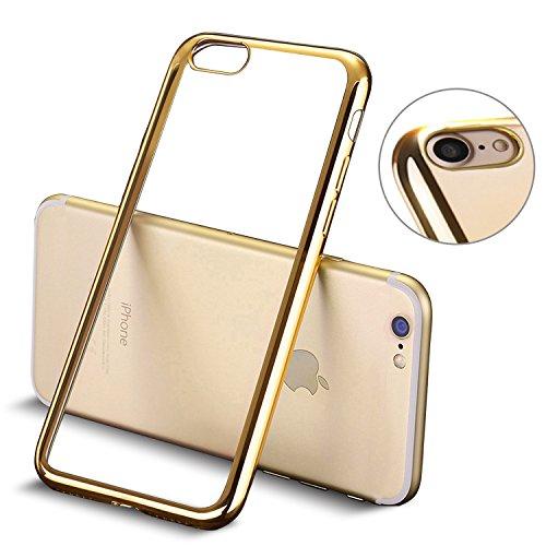 iPhone 7 hülle, Mture Tasten Schutzhülle iPhone 7 Case Cover Bumper Anti-Scratch Plating TPU Silikon Durchsichtig Rückschale für iPhone 7 Handyhülle (Gold)