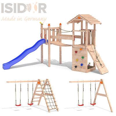 ISIDOR Goufy Spielturm Kletterturm Spielhaus Kletterwand Wackelbrücke