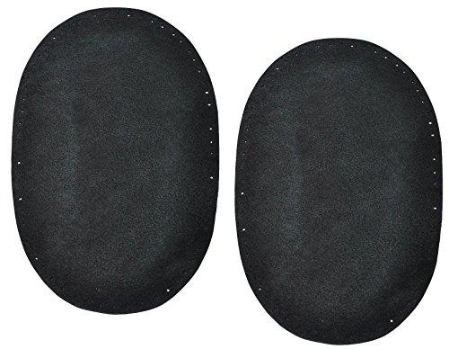 2 Stk. Wildleder - echtes Leder - Flicken - schwarz - 10 cm * 15,5 cm - oval - zum Aufnähen Aufnäher / Applikation XL Format