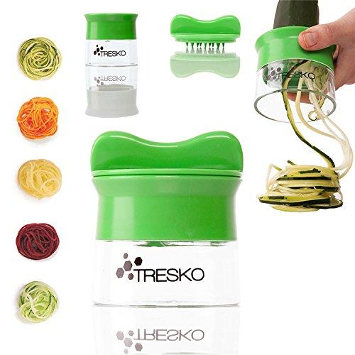TRESKO® Hand Spiralschneider Gemüsehobel Gurkenschäler Gemüseschneider Möhrenschäler für Gemüsespaghetti, Kartoffel, Zucchini, Spargel, Möhren, Gurkenschneider, geeignet für Gemüse bis 6,5 cm Durchmesser, spülmaschinenfest