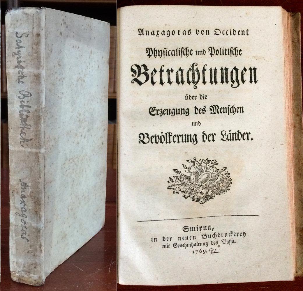 ANAXAGORAS von OCCIDENT 1769 EA..Betrachtungen über die Erzeugung des Menschen..