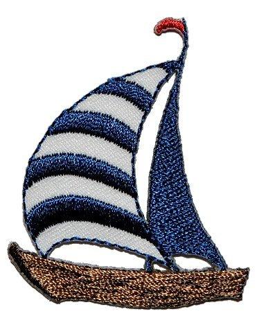 Segelboot 4,3 cm * 5,1 cm Bügelbild Aufnäher Applikation - Schiff Segelschiff Boot Maritim Yacht Wasser
