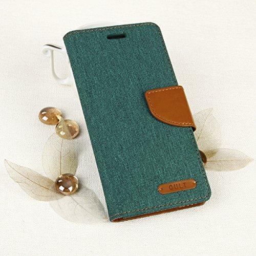 EGO® Luxury Bookstyle Handy Tasche mit praktischer Aufstellfuntkion für Samsung Galaxy A3 A310 (2016) Grün Flip Case Magnetverschluss Book Cover mit Kartenfach Wallet Stand Schutz Hülle Canvas