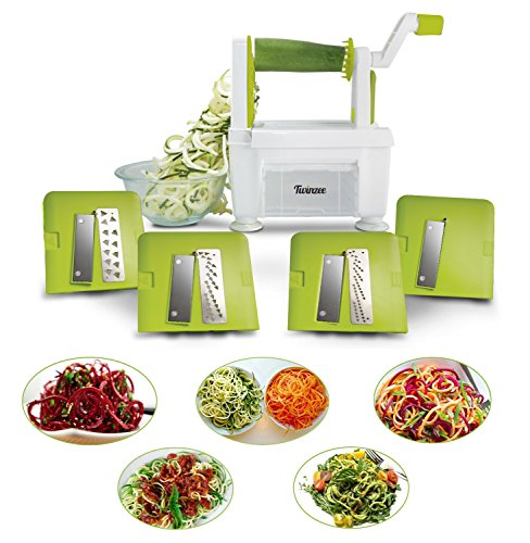 Spiralschneider für Gemüse Twinzee - mit 4 auswechselbaren Klingen - Innovatives Design für eine optimierte Aufbewahrung - Der beste Spiralschneider, um aus Früchten und Gemüse Spaghetti, Spiralen sowie Band- und Fadennudeln zu machen