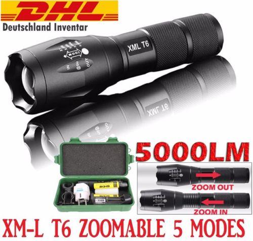 5000LM Taktisch T6 LED Flashlight Taschen-lampe Zoom 18650 Batterien Ladegerät