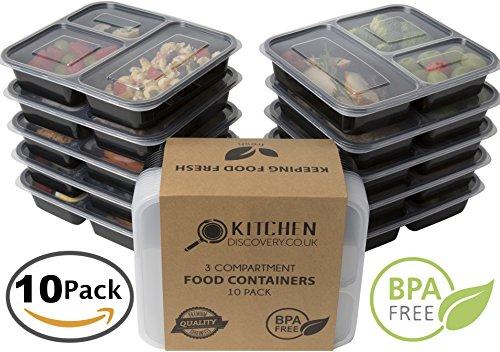 3 fach Mahlzeit Prep Container (10 Pack). Bento Box Set mit Deckel. Safe für Spülmaschine, Mikrowelle und Gefrierschrank. Schwarz, stapelbar, wiederverwendbar und BPA-frei Aufbewahrungsbehältern aus Kunststoff mit Trennwände - Lagerung von Babynahrung - W