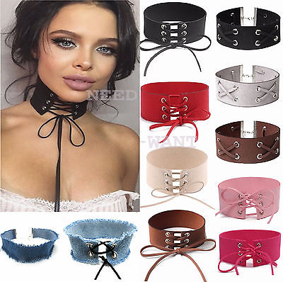 Leather Choker Charm Necklace Vintage Hippy Chocker Retro Adjustable Wide Cord