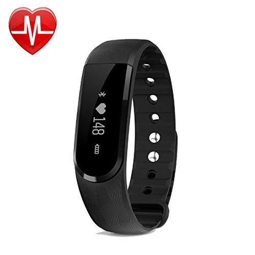 AsiaLONG Aktivitätstracker Bluetooth Armband mit OLED Display, Pulsmesser, Schrittzähler, Aktivitäts-/Schlaftracker, Kalorienanalyse SMS/Facebook Reminder Wasserdichte Fitness Tracker für Android und iOS (SW322-Schwarz)