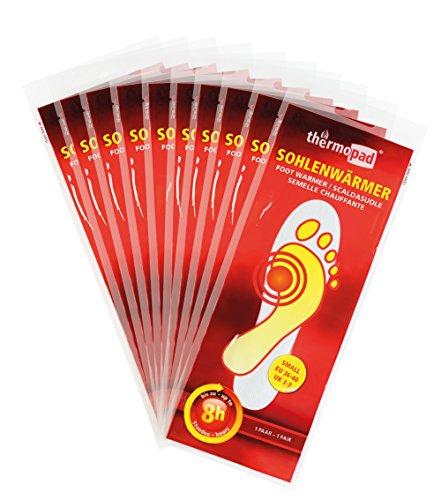 Thermopad Sohlen-Wärmer | kuschlig warme Füße | 8 Stunden lang 37°C | einfache Anwendung wohltuender Wärme-Kissen | Größe L | 10 Paar