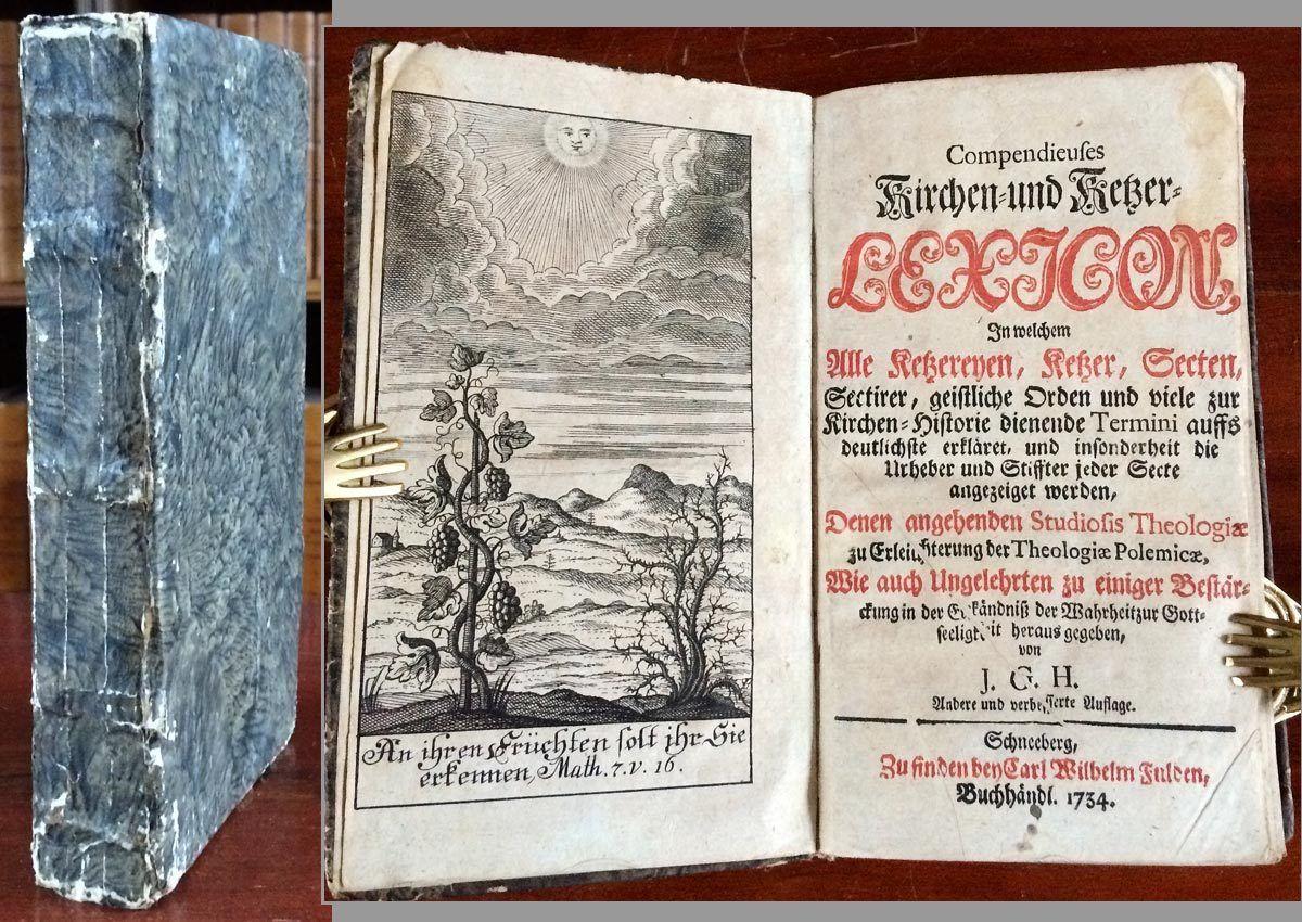 KIRCHEN- & KETZER-LEXICON ANNO 1734 OKKULTISMUS MAGIE ROSENKREUZER TEMPLER SEKTE