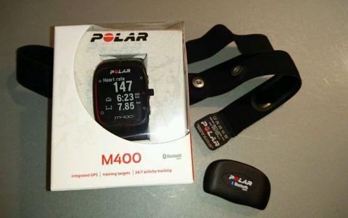Polar M400 GPS-Laufuhr + H7 Brustgurt m. Herzfrequenzsensor OVP schwarz
