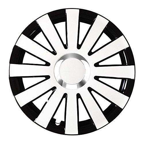 (Farbe und Größe wählbar!) 15 Zoll Radkappen ONYX (Schwarz-Weiß) passend für fast alle Fahrzeugtypen (universell) - vom Radkappen König