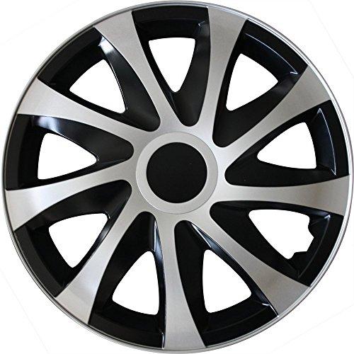 (Farbe und Größe wählbar) 15 Zoll Radkappen DRACO (Schwarz-Silber) passend für fast alle Fahrzeugtypen (universal)