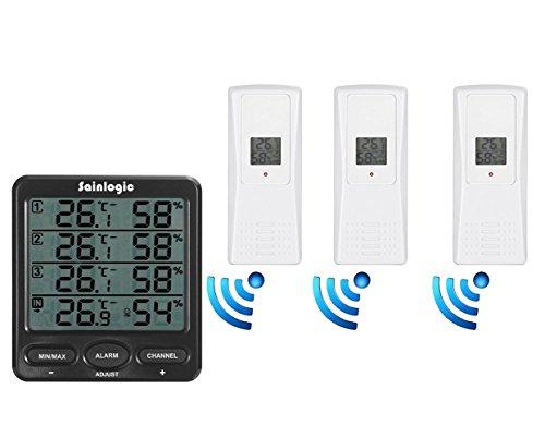 Sainlogic(R) Funk Thermometer Hygrometer Wetterstationen mit 3 Innen/Außen 8-Kanal Aussensensoren Luftfeuchte LCD Display Min/max