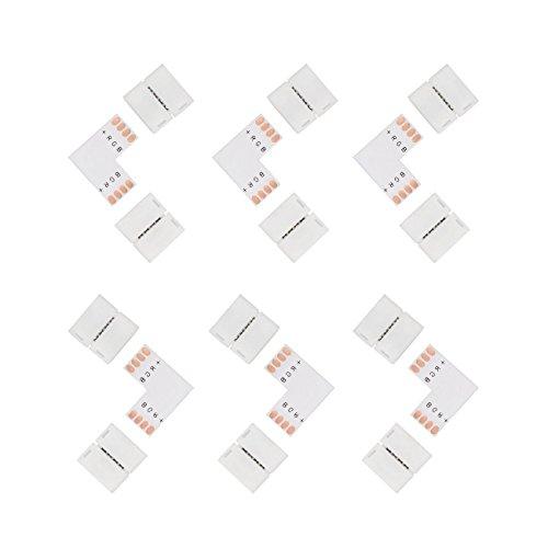 Salcar 6x 4-poliger Connector & L-Form PCB für SMD5050 LED RGB Strips, 10mm, lötfrei