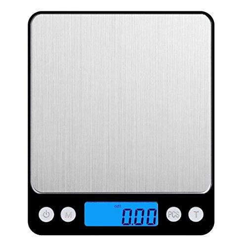 Amir Digitale Küchenwaage,Mini Waage /hohe Präzision auf bis zu 0,1g (3kg Maximalgewicht), Tara-Funktion, ideal zum Messen von Zutaten, Schmuck, Reis, Mehl, Gold, Edelsteinen, Briefen, Briefmarken