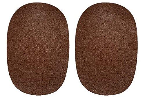 2 tlg. Set ovaler Flicken - mittel braun Leder 10 cm * 15 cm Aufnäher zum Aufnähen Applikation