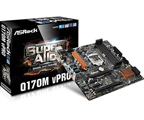 Asrock Q170M VPRO Intel Q170 LGA1151 Micro ATX Motherboard - Motherboards (DIMM, DDR4-SDRAM, Dual, Intel, Celeron, Core i3, Core i5, Core i7, Pentium, LGA1151)
