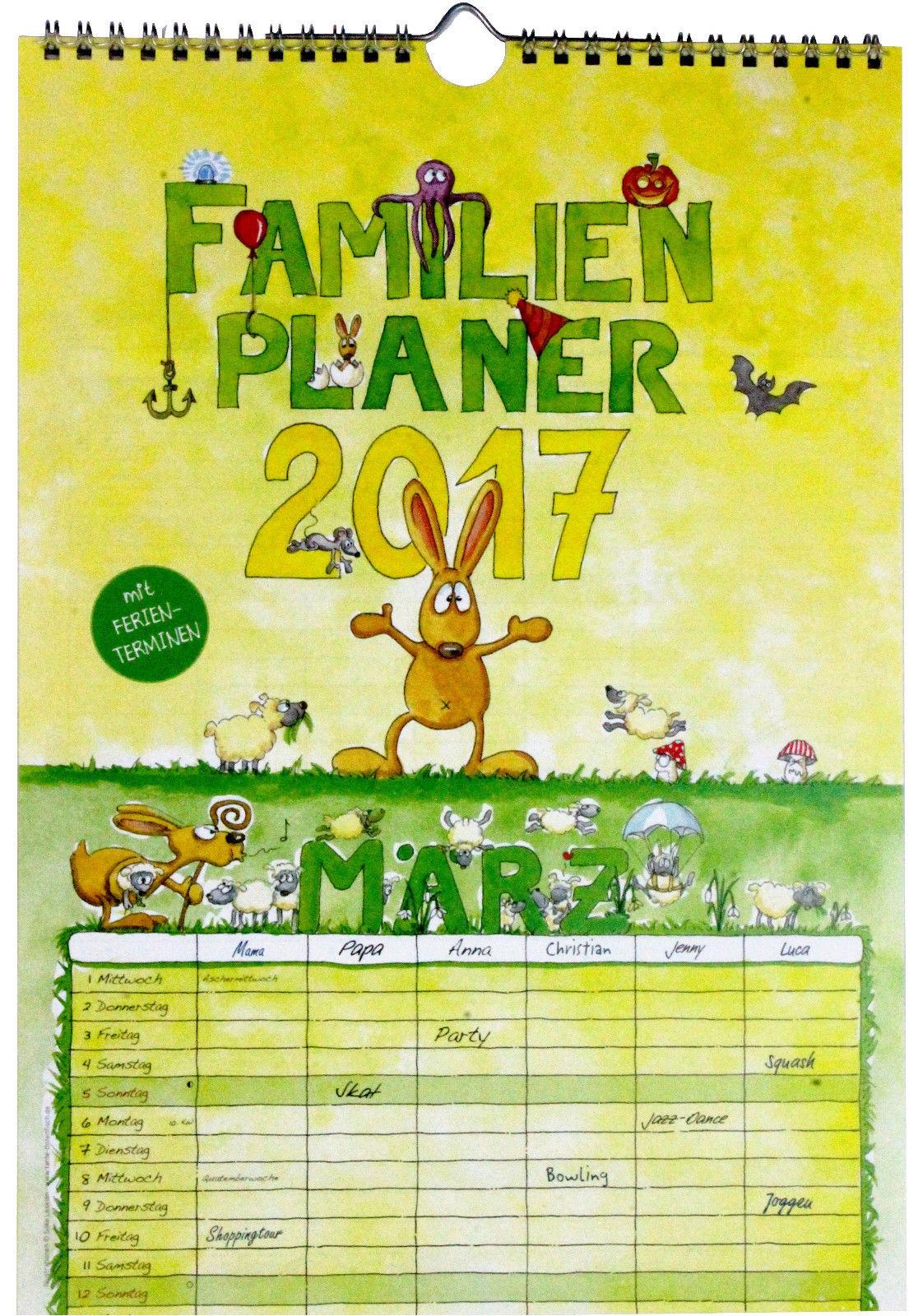 NEU 2017 Familienkalender Familienplaner 6 Spalten Familyplaner Wandkalender A4