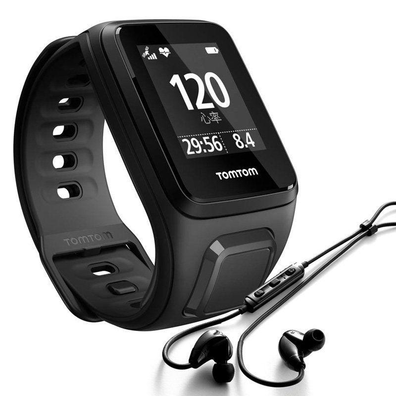 TomTom Spark Cardio + Music Größe S Multisport Herzfrequenz schwarz + Kopfhörer