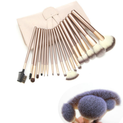 18tlg Makeup Pinsel Set Make up Brush Tasche Schminkpinsel Set Champagner