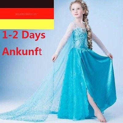 Mädchen Kinder Kleid Frozen Anna Elsa Prinzessin Kostüm Eiskönigin Cosplay Nue