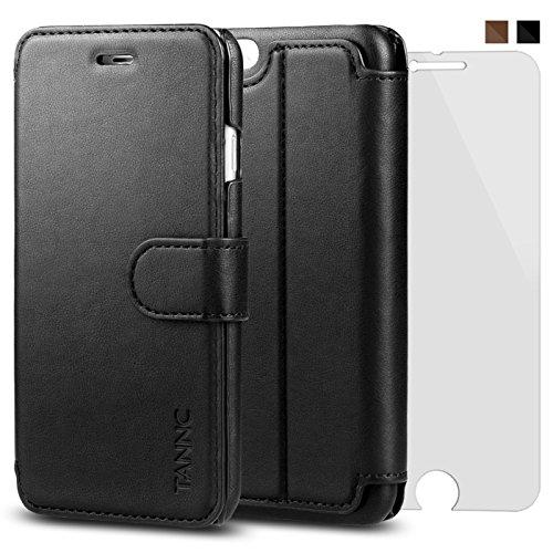 TANNC iPhone 6 Plus Hülle iPhone 6S Plus Hülle, TANNC Leder Schutztasche Klappetui Brieftasche Handyhülle - [Kostenlose Schutzfolie eingeschlossen] [Multifunktional] [Kartenfächer] [Standfunktion] [Brieftasche] - Für Apple iPhone 6 Plus und iPhone 6S Plus