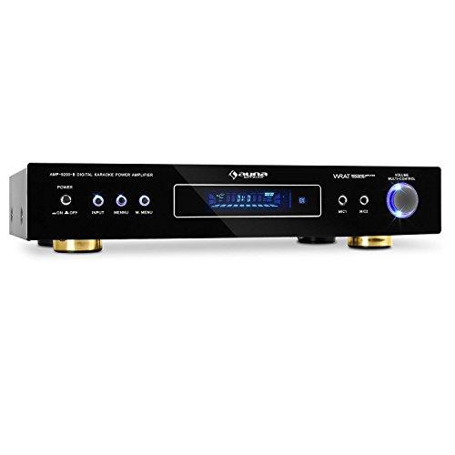 auna AMP-9200 Design 5.1 Surround Heimkino Karaoke Verstärker Receiver Endstufe (600W max. Gesamtleistung, 2 x 120W RMS, 3 x 50W RMS, Radioempfang, goldene Standfüße) schwarz