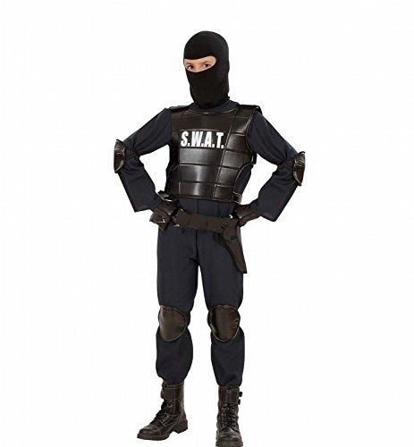 Widmann 55347 - Kinder Kostüm S.W.A.T. Officer Anzug, Weste, Gürtel, Maske, Knie- und Ellenbogenprotektoren,  schwarz, Größe 140