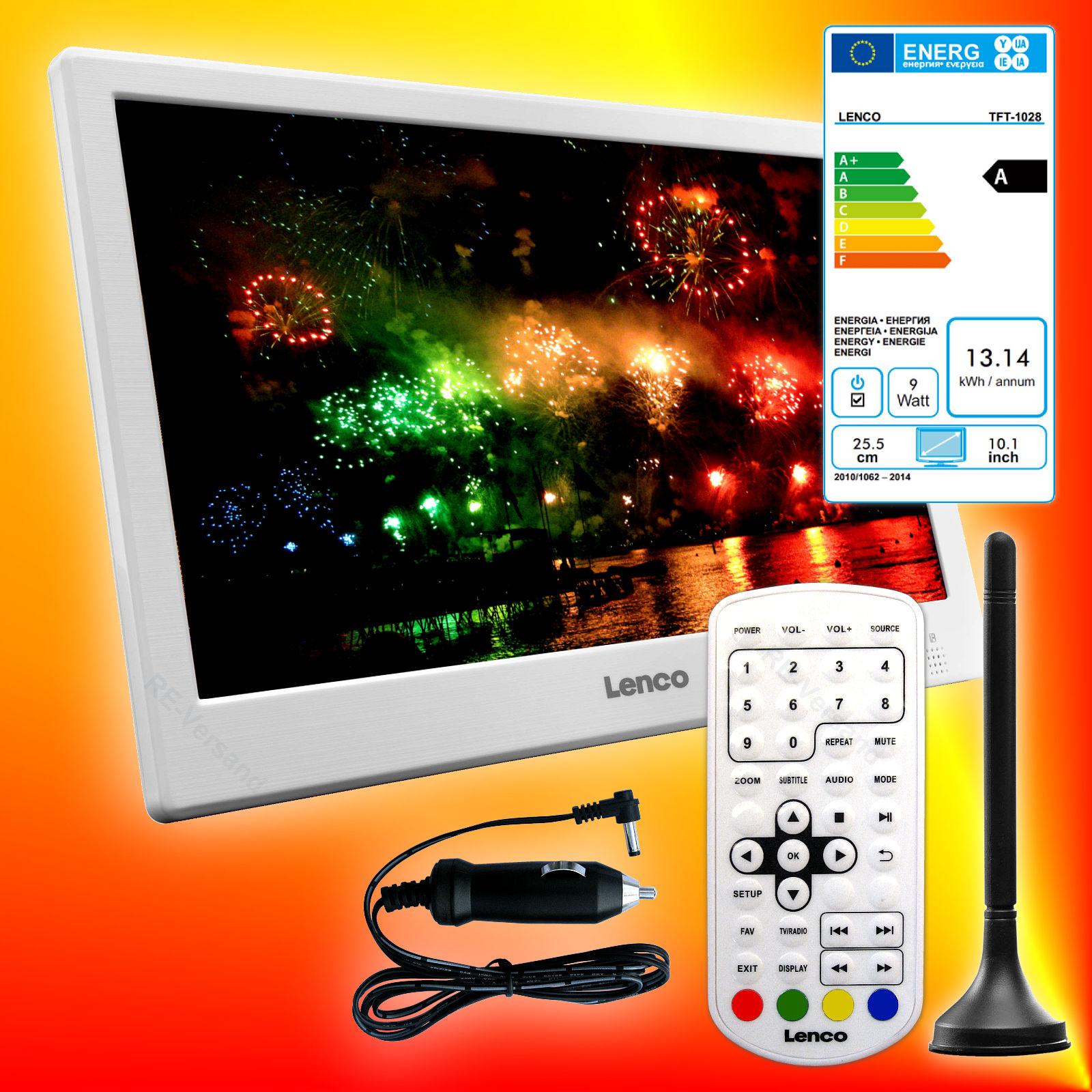 Lenco TFT-1028 Weiß tragbarer DVB-T2 HD LED-TV 12V/230V Fernseher USB HDMI EEK A