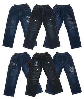 3 Stück Jungen RUNDUMGUMMI Jeans Hosen Gr 98-152 #1