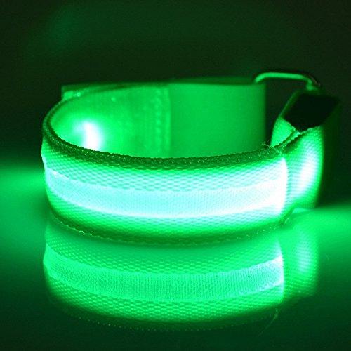 Namsan 2×LED-Licht Armband sicher Walking/Laufen Flashing Schweißband, Nacht Radfahren Jogging Reflektierende Armband verstellbaren Visible Outdoor-Enthusiasten Beleuchtung Hip-Hop Performance Props,Grün