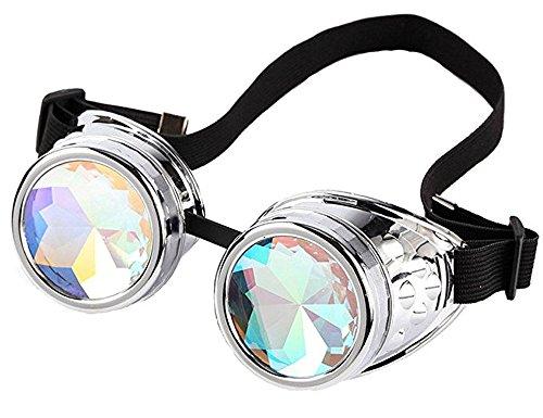 DODOING Kaleidoscope Goggles Kaleidoskop Brillen Weinlese-Art Gotische Retro Steampunk Cosplay Brille Rainbow Glasses Wedding Punk Brille