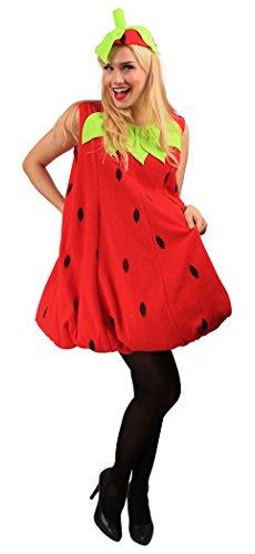 Erdbeer-Kostüm Rot & Grün für Erwachsene | Einheitsgröße | 1-teilige Obst Kostümierung für Karneval | Frucht-Verkleidung für Fasching | Süßes Früchtchen & Karnevalskostüm für Fastnacht & Mottopartys