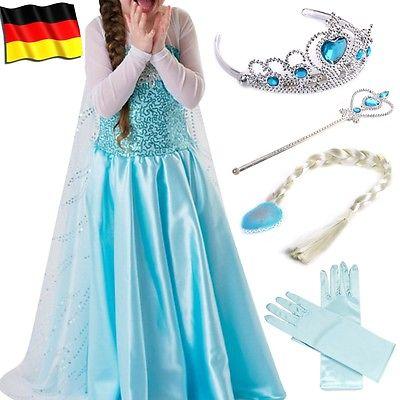 Eiskönigin Prinzessin Elsa Kleid Kostüm Eisprinzessin Set aus Diadem,Handschuhe