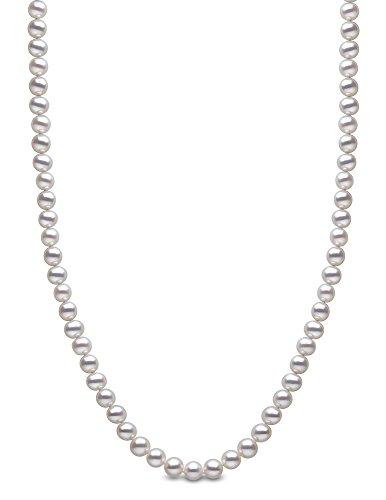 Kimura Pearls, Perlenkette 9 Karat (375) Weißgold 8-8,5 mm Süßwasser-Zuchtperle Weiß AA Pearl Halskette Länge 61 cm