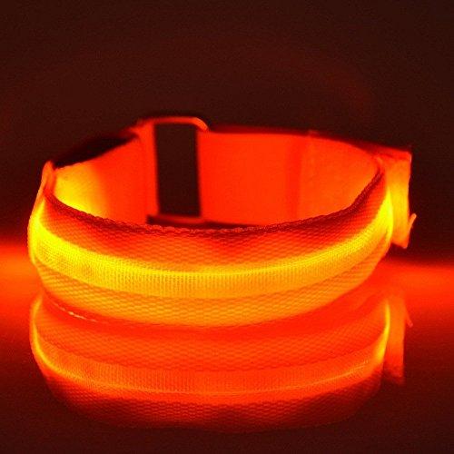 Namsan Wasserdichte LED-Licht Armband sicher Walking / Laufen Flashing Schweißband, Nacht Radfahren Jogging Reflektierende Armband verstellbaren Visible Outdoor-Enthusiasten Beleuchtung Hip-Hop Performance Props,Orange(2pcs)