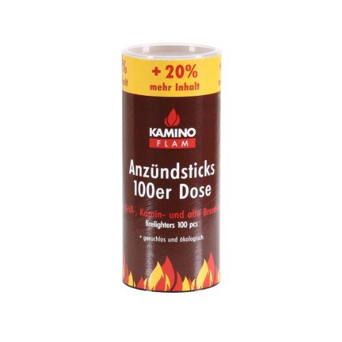 KAMINO FLAM Anzündsticks 333174, 100 Anzünder in einer handlichen Dose, die Brenndauer der Feuersticks beträgt ca. 5-6 Minuten, Anzündscheit für den Grill-, Kamin- und alle anderen Brennöfen, die Anzündbrikettsticks brennen geruchlos und ökologisch ab, di