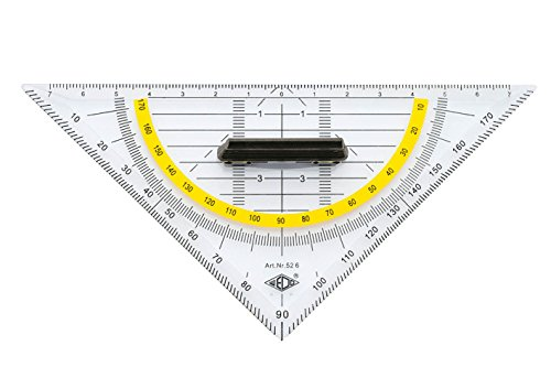 Wedo 526 Geometrie-Dreieck (aus Kunststoff Hypotenuse abnehmbarem Griff, 16 cm) transparent