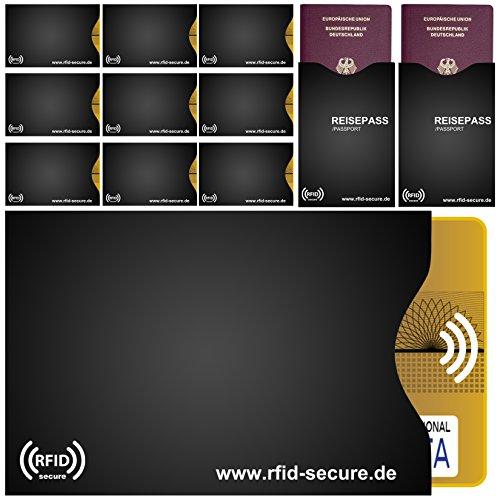 RFID & NFC Schutzhüllen 12er Set |10 x für Kreditkarte, EC-Karte | 2 x für, Reisepass | 100% Vollschutz durch Abschirmung von RFID & NFC Funk-Chips | RFID Secure - Das Original